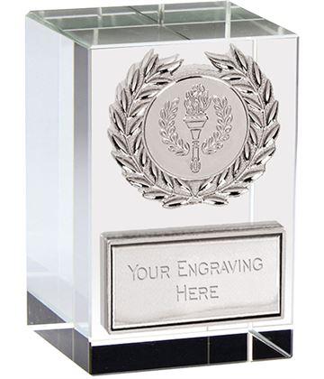 """Merit Silver Laurel Wreath Optical Crystal Glass Award 7.5cm (3"""")"""
