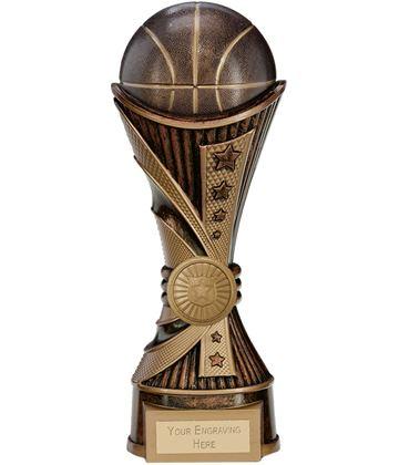 "All Stars Basketball Heavyweight Trophy Antique Bronze & Gold 22cm (8.75"")"