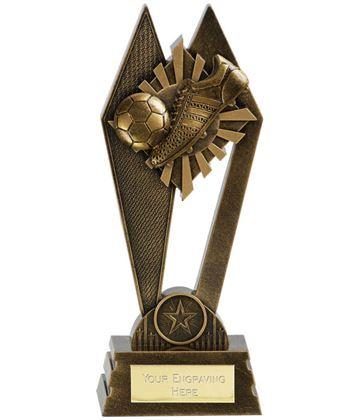 "Football Boot & Ball Peak Trophy Antique Gold 20cm (8"")"