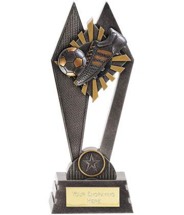 "Football Boot & Ball Peak Trophy Antique Silver 20cm (8"")"