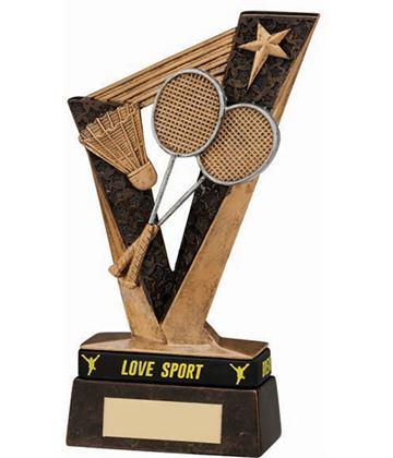 """Victory Badminton Trophy Antique Gold 15.5cm (6.25"""")"""
