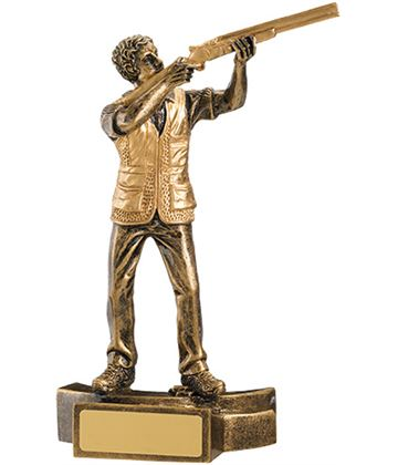 "Gold Resin Male Clay Pigeon Shooting Trophy 18cm (7"")"