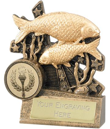 """Fishing Trophy with Stars Background 9cm (3.5"""")"""