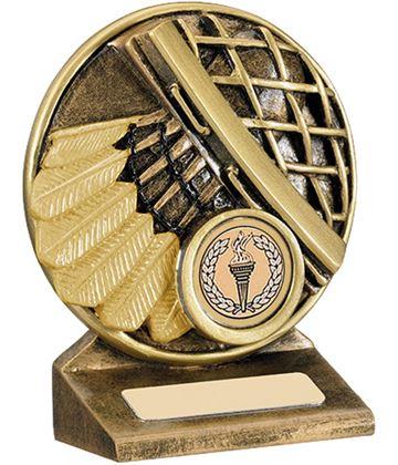 "Round Gold Resin Badminton Shuttlecock Trophy 9cm (3.5"")"