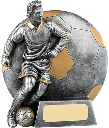 "Silver Resin Football Shaped Player in Action Football Trophy 12.5cm (5"")"