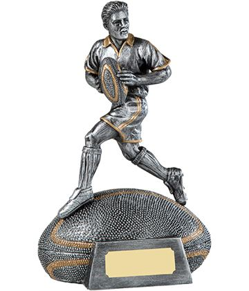 "Antique Silver Male Rugby Player Trophy on Rugby Ball Base 18cm (7"")"