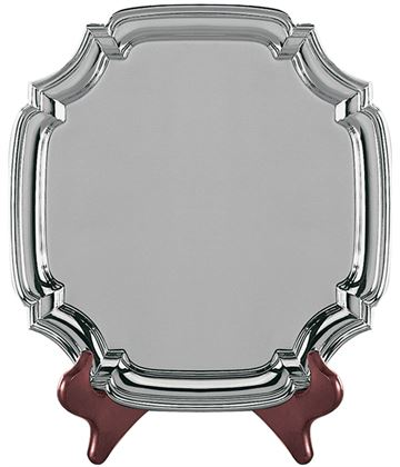 "Square Nickel Plated Cast Chippendale Salver 11.5cm (4.5"")"