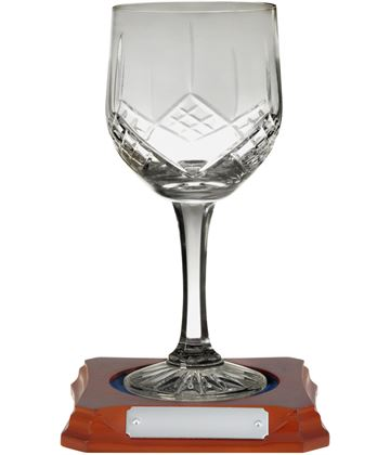 "Hand Cut Crystal Wine Glass on Wooden Base 18cm (7"")"