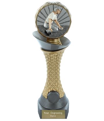 "Bowls Trophy Heavyweight Hemisphere Tower Silver & Gold 25.5cm (10"")"