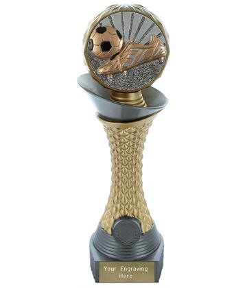 "Football Boot & Ball Trophy Heavyweight Hemisphere Tower Silver & Gold 28cm (11"")"