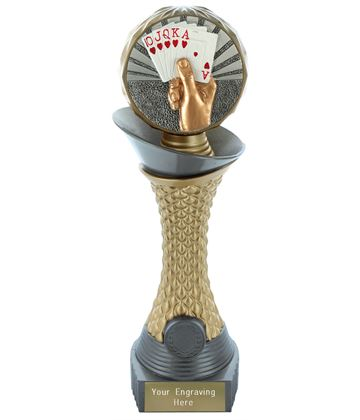 "Cards Trophy Heavyweight Hemisphere Tower Silver & Gold 25.5cm (10"")"