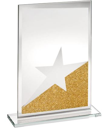 "Rectangle Jade Glass Star Plaque With Gold Glitter Detail 16.5cm (6.5"")"