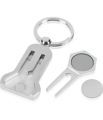 "Pitch Repairer and Magnetic Ball Marker Golf Keyring 9cm (3.5"")"