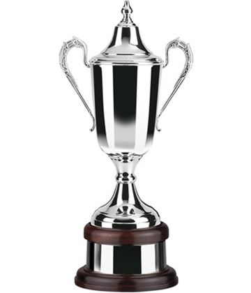 "Silver Plated Formula Trophy Cup on Mahogany Base 38cm (15"")"