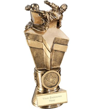 "Female Footballer On Star Column Trophy 22cm (8.75"")"
