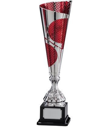 "Quest Laser Cut Silver & Red Cup 39.5cm (15.5"")"