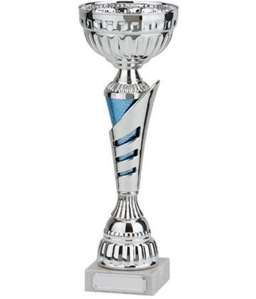 """Rio Vista Silver & Blue Metal Bowl Trophy Cup 28cm (11"""")"""