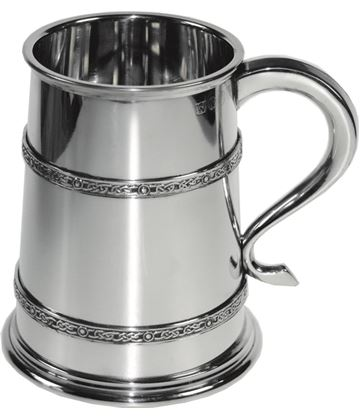 "Double Celtic Band 1pt Sheffield Pewter Tankard 12cm (4.75"")"