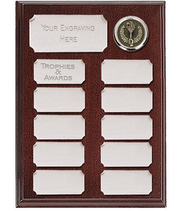 """Rosewood Presentation Plaque With 11 Silver Plates 20.5cm (8"""")"""