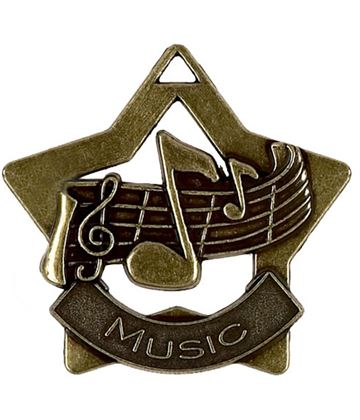 "Bronze Music Mini Star Medal 60mm (2.25"")"