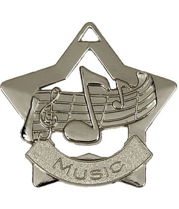 "Silver Music Mini Star Medal 60mm (2.25"")"