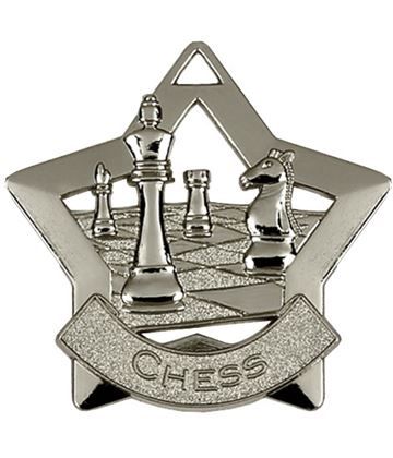 "Silver Chess Mini Star Medal 60mm (2.25"")"