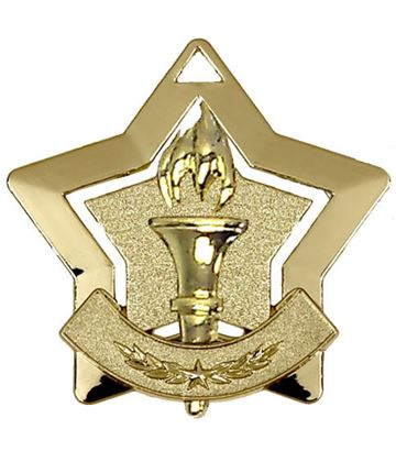 "Gold Victory Mini Stars Medal 60mm (2.25"")"