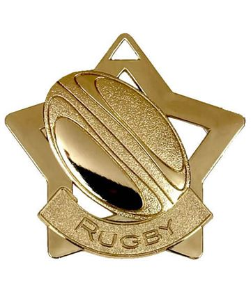 """Gold Rugby Mini Star Medal 60mm (2.25"""")"""