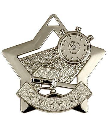 """Silver Swimming Mini Star Medal 60mm (2.25"""")"""