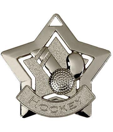 "Silver Hockey Mini Star Medal 60mm (2.25"")"