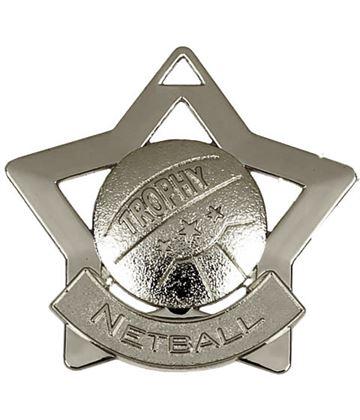 "Silver Netball Mini Star Medal 60mm (2.25"")"